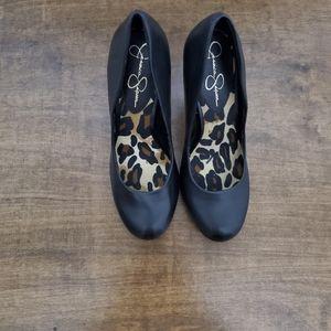 Jessica Simpson Black Leather Heels 8.5